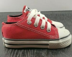 Converse All Star Chuck Taylor Kids LOW TOP Sneakers Red Made In USA VINTAGE