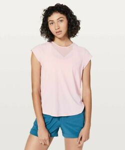 NWT Lululemon Women's For The Run Short Sleeve Top Petal Pink - 10