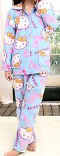 Women Hello Kitty Blue Flannel Button Front Pajamas Set Size L