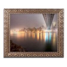 Trademark Fine Art Fog Under The Queensborough Bridge-Midtown Framed Art by Davi