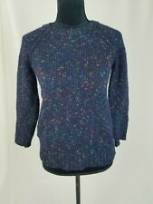 Madewell women XS navy blue Softfleck sweater crew neck cozy chunky wool blend