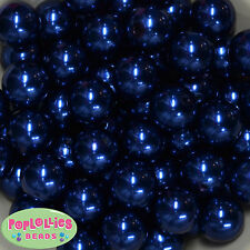 20mm Royal Blue Acrylic Faux Pearl Bubblegum Gumball Chunky Jewelry 20pc