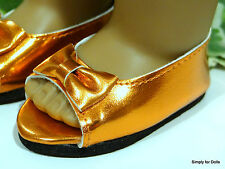 "**SALE** ORANGE Metallic Ballet Flats DOLL SHOES fits 18"" AMERICAN GIRL DOLL"