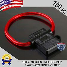 100 Pack 8 Gauge ATC In-Line Blade Fuse Holder 100% OFC Copper Wire Protection
