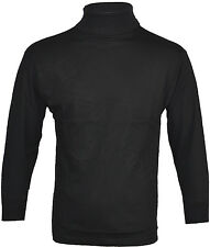 Mens Roll Polo Funnel Turtle Neck Thin Baselayer 100% Cotton Rich Top Golf S-2XL
