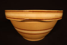 "RARE BROWN & WHITE BAND WATT 8"" BOWL YELLOW WARE"