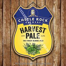 Castle Rock Harvest Pale Beer Advertising Pub Metal Pump Badge Shield Steel Sign