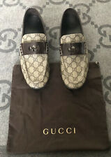 100% AUTHENTIC GUCCI GG MONOGRAM LEATHER LOAFERS DRIVER SHOES G 8.5 US 9.5