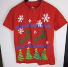 Hybrid Ugly Holiday Xmas Christmas Sweater T-Shirt  8 bit Red Men's Size S  W003