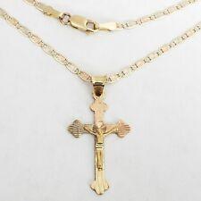 """tri color 14k Gold Jesus crucifix cross pendant charm 18"""" chain set necklace"""