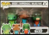 FUNKO STAR WARS GREEDO, HAMMERHEAD & WALRUS MAN 3 PK EXCLUSIVE POP VINYL BOX SET
