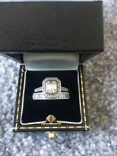 9ct Gold Baguette Diamond Engagement And Wedding Ring Set Size J