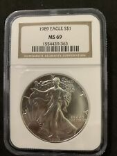 1989 American SILVER EAGLE NGC MS 69 Dollar Coin #363