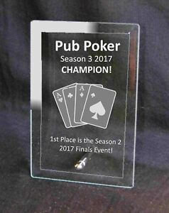 Personalised Engraved Glass Plaque Pub Poker Award