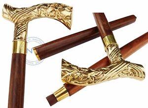 Vintage Brass Handle Wooden Walking Stick Designer Brown Wooden Victorian Cane