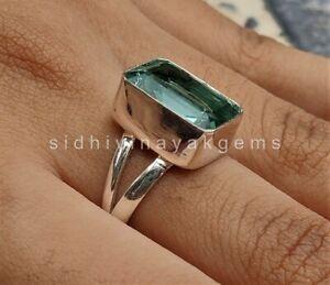 Aquamarine Gemstone 925 Sterling Silver Rings Statement Birthstone Rings A-1