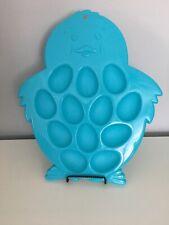 Deviled Eggs Platter Easter Eggs Plate Chick Shaped Blue Plastic New