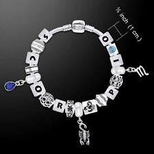 Scorpio Astrology Zodiac .925 Sterling Silver Bead Bracelet Peter Stone