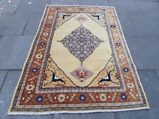 Antique Hand Made Traditional Persian Rugs Oriental Wool Yellow Rug 194x139cm