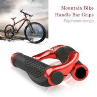 Mountainbike Lenker Griffe Doppel Verschluss auf BMX + Enden Anti-Rutsch Rot