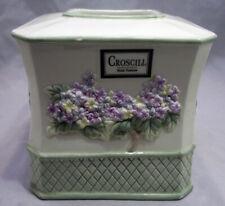 Croscill Embossed Floral Lattice Ceramic Tissue Box