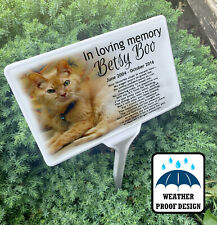Grave marker, Cat memorial garden tree stake and personalised photo plaque.
