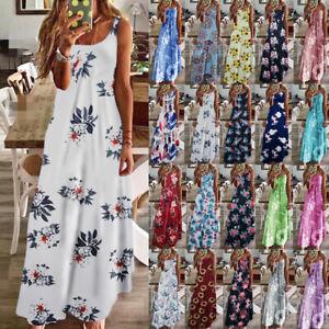 Womens CAMI Ladies Maxi Floral Sleeveless Sundress Holiday Loose Long Slip Dress