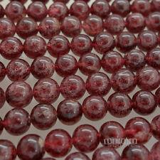 "15"" Natural Red Dark Pink Strawberry Quartz Round Beads ap. 8mm #21168"