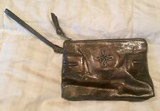 Simply Vera Wang Wristlet Clutch Purse Brown Metallic Copper ish Color