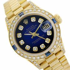 Rolex Lady Datejust 69178 18K Gold Blue Vignette Diamond Dial Bezel - Pre-Owned