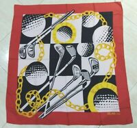 Vintage Scarf CELINE Golf mania Red Black Yellow White 100%Twill silk 85cm