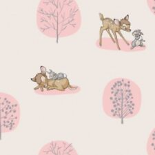Disney Bambi and Thumper Forest Scene Light Pink Bckgrd Cotton Quilt Fabric 1/2Y