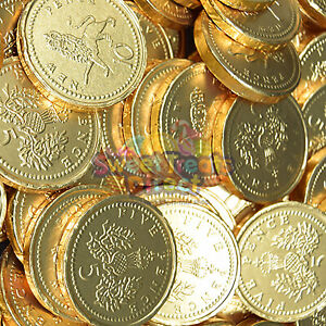 Chocolate Coins Shape Foiled Pieces Sweets - GOLD Wedding Party Treat Gifts