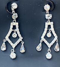 Women Silver Plated Crystal Rhinestone Drop Dangle Earrings Wedding Bridal Prom