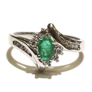 14k white gold .23ct SI2 H diamond oval emerald womens ring 3.9g unique 7.5