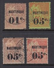 Martinique 1888-91 Used Sc #9, 13-4, 16 1C/5C Surcharges Cat $98.75