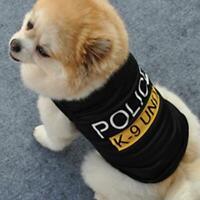 Dog Cat Vest Police Puppy T-Shirt Coat Pet Clothes Summer Apparel Costumes Black