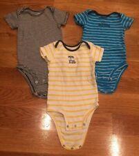 Lot of 3 Carter's Navy Blue/Sky Blue/ Yellow Bodysuits Baby Boy 12 Months