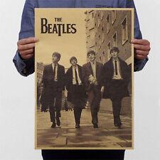 New The Beatles Rock Bands Music Poster Retro Kraft Paper Bar Pub Decor Art