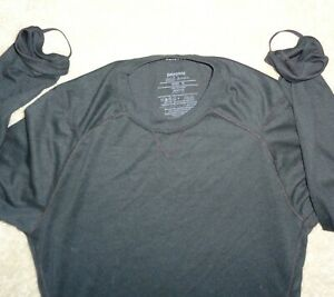 Patagonia Mens M Black Polartec Capilene 2 Lightweight Long Sleeve T Shirt Grt
