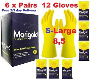 Marigold Extra Life Kitchen Layered Rubber Gloves LARGE SIZE Pack of 6 X PAIRS