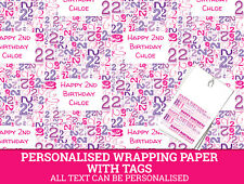 Personalised Happy 2nd Birthday Wrapping paper - Pink Gift Wrap with a number 2