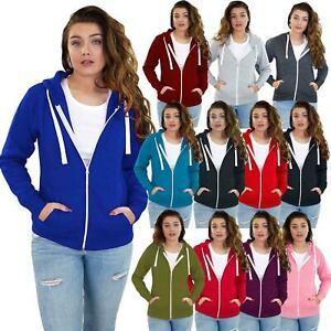 Ladies Hoodies Plain Zip Up Sweatshirt Women Fleece Casual Jacket hooded Top