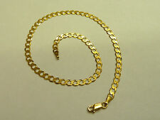 9ct Solid Gold Anklet - Curb Link -  3 grams