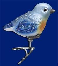 Baby Bluebird Old World Christmas Glass Clip On Bird Nature Ornament Nwt 18093