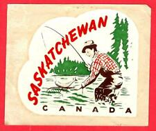 Vtg. SASKATCHEWAN, CANADA Provincial Water Transfer Travel Decal w/ Fisherman