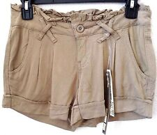 """Juniors Size 1 Tan Knit Shorts by Be Bop Cotton/Span 3"""" Ins Pleated Cuffed NEW"""