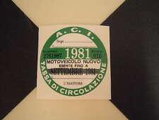 Disque fiscale italienne 1981-FIAT 500 600 126 Lancia Giulietta Beta ALFA GTV ABARTH