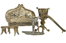 Sterling  Silver & Other Metals, Set of Five Miniature Furniture, Amazing