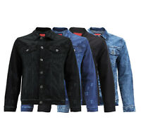 Men's Casual Distressed Trucker Denim Classic  Button Up Stretch Jean  Jacket